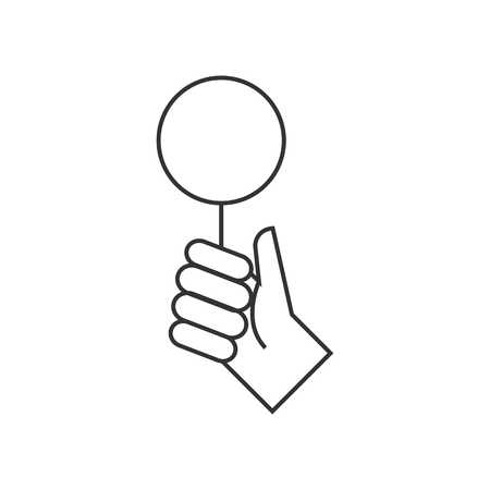 commerce: Bidder hand icon in thin outline style. Business finance buying auction bid compete contender