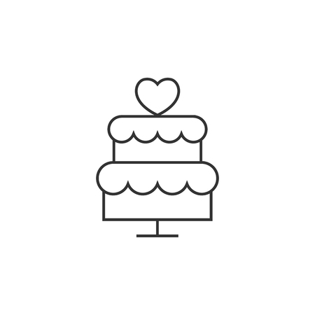 brown: Wedding cake icon in thin outline style. Romantic married party dessert