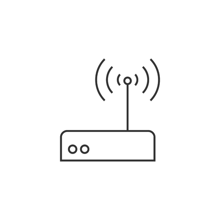 website buttons: Internet router icon in thin outline style. Connection data networking WiFi computer