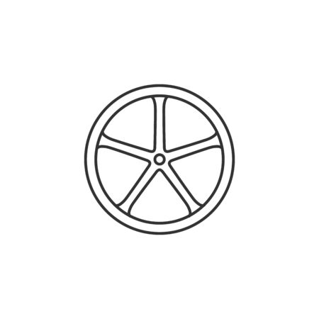 aluminium: Bicycle wheel icon in thin outline style. Sport cycling race single track tubular Illustration