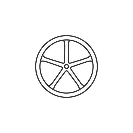 Icône de la roue de vélo dans un style mince. Piste cyclable sportive à simple voie tubulaire