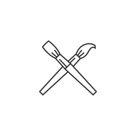 home icon: Paint brushes icon in thin outline style. Artist, painting, drawing, artwork Illustration