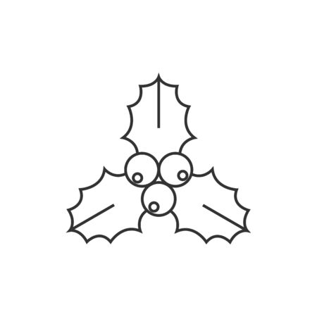 christmas plant: Christmas garland icon in thin outline style. Celebration merry greeting new year Illustration