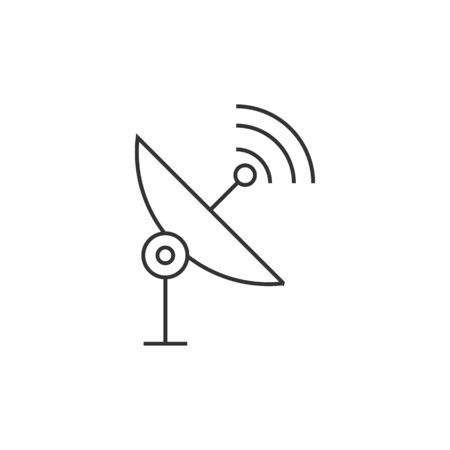 wireless icon: Satellite receiver icon in thin outline style. Data information technology space science