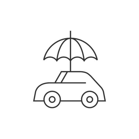 security: Car and umbrella icon in thin outline style. Insurance protection investment transportation Illustration