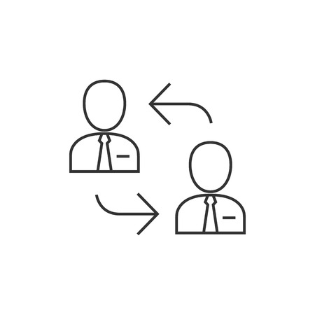 business meeting: Employee rotation icon in thin outline style. Position human resources Illustration