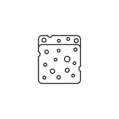 white work: Sponge cleaning icon in thin outline style. Housekeeping service wet bathroom Illustration