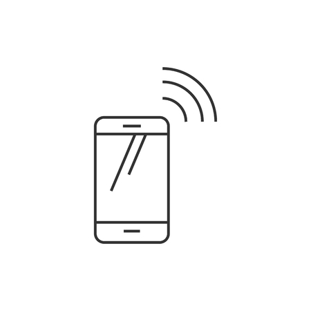 contact: Smartphone icon in thin outline style. Communication device, touch screen