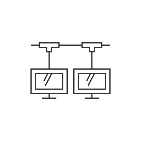 shared sharing: Computer network icon in thin outline style. Illustration