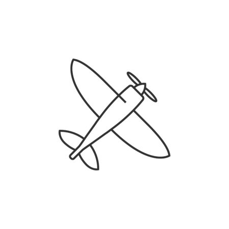 Vintage airplane icon in thin outline style.