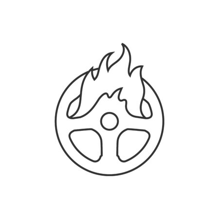 Steering wheel icon in thin outline style. Illustration