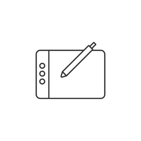 screen: Drawing tablet icon in thin outline style. Illustration