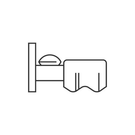 hotel bedroom: Hotel symbol icon in thin outline style. Illustration