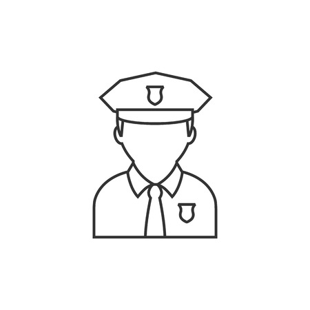 white work: Police avatar icon in thin outline style.