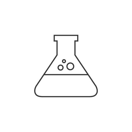 lab test: Beaker icon in thin outline style. Illustration
