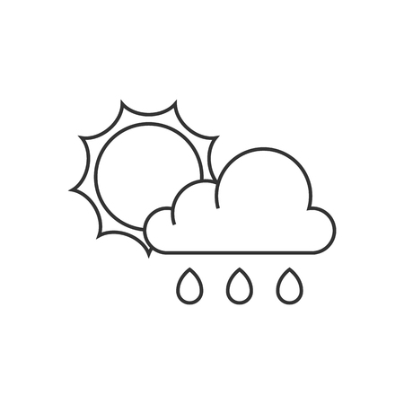 water: Rainy icon in thin outline style. Illustration