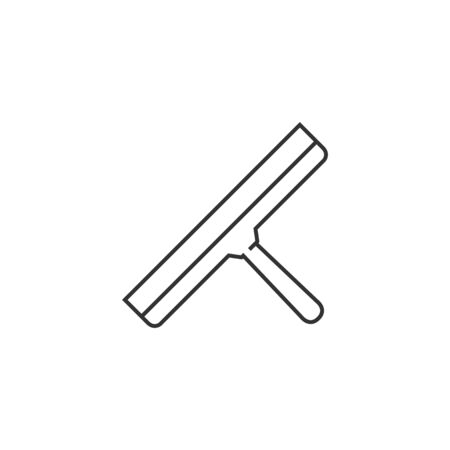 worker working: Glass scraper icon in thin outline style.