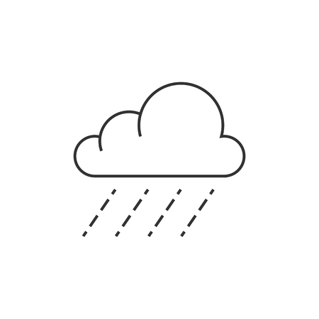 drops of water: Rain cloud icon in thin outline style.