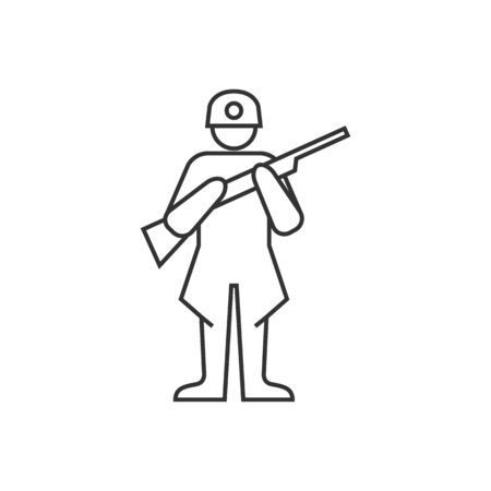 historic: World War army icon in thin outline style.