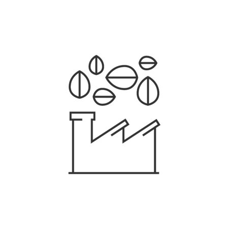 Green factory icon in thin outline style.