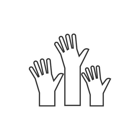 help: Hands icon in thin outline style. Anatomy human family care kids adult parents