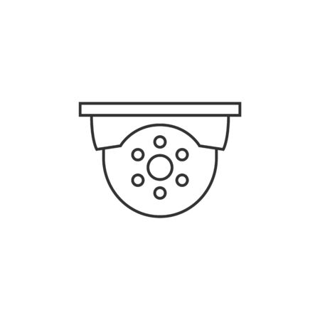 security: Surveillance camera icon in thin outline style.