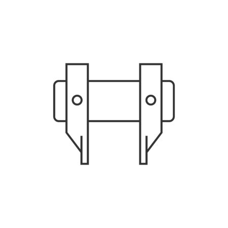 metal industry: Camera lens spanner icon in thin outline style.
