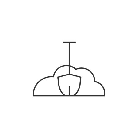 Snow and shovel icon in thin outline style.