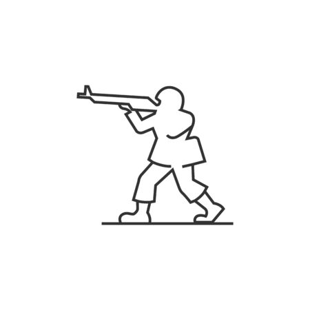 soldiers: Toy soldier icon in thin outline style. Kids children playing war games Illustration
