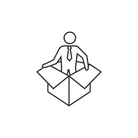thrill: Businessman challenge icon in thin outline style.