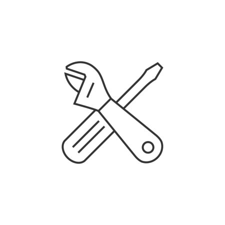 white work: Mechanic tools icon in thin outline style. Illustration