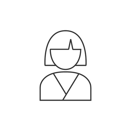 massage symbol: Woman spa client icon in thin outline style. Illustration