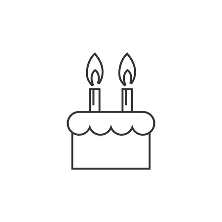cr: Birthday cake icon in thin outline style