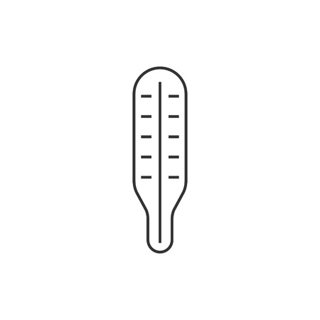 hot: Thermometer icon in thin outline style.