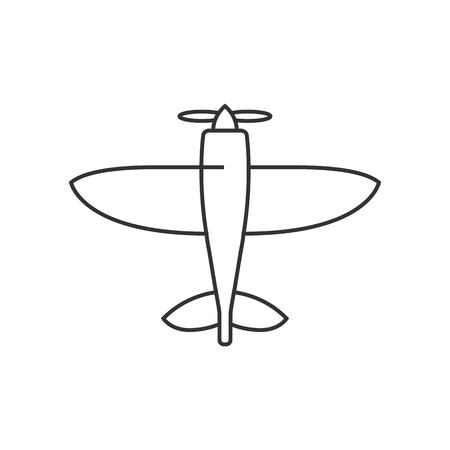 Airplane icon in thin outline style