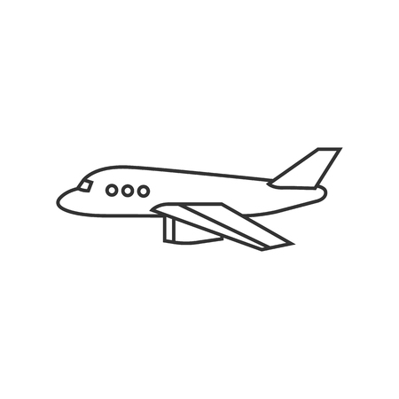 simple: Airplane icon in thin outline style.