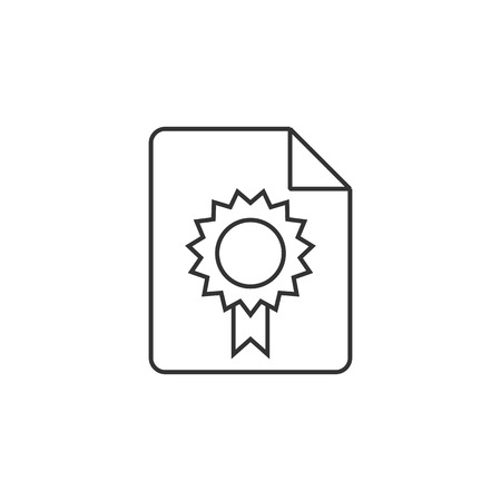 signing papers: Contract document icon in thin outline style.
