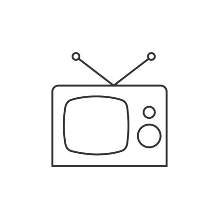screen: Television icon in thin outline style. Illustration