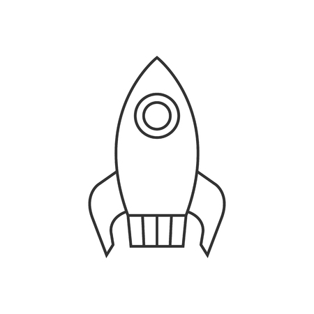 engine: Rocket icon in thin outline style. Launching, startup, media, idea Illustration