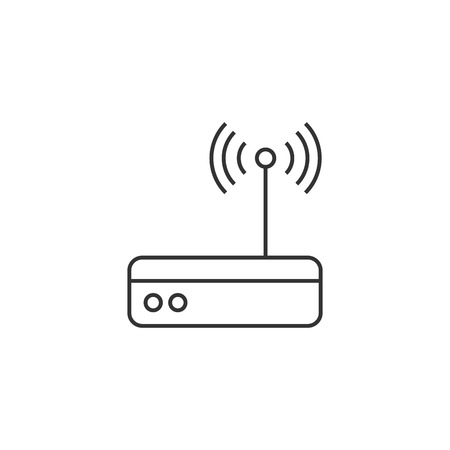 website: Router icon in thin outline style. Internet connection, WiFi