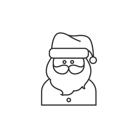 claus: Santa Claus head icon in thin outline style. Celebration Christmas December merry