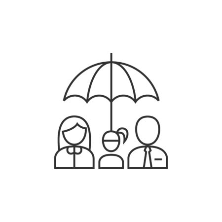 family: Family umbrella icon in thin outline style. Insurance protection safety parents kids education