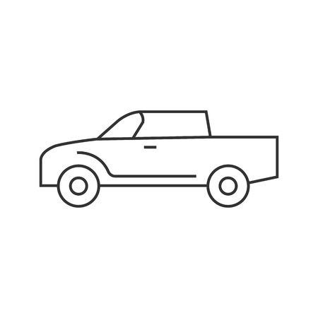 car speed: Car icon in thin outline style. Truck, double cabin, 4x4, 4 wheel driver Illustration