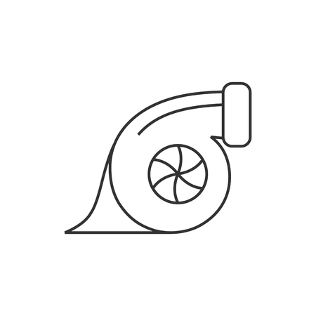 chrome: Turbo charger icon in thin outline style. Automobile car sport speed boost engine machine