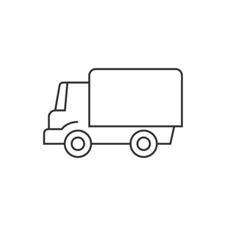 mobile: Truck icon in thin outline style. Freight, transport, logistic, delivery