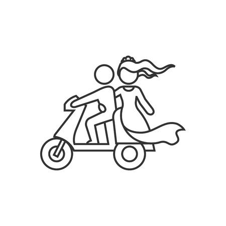 Icono de scooter de boda en estilo de contorno fino. Motor de scooter de montar recién recreado