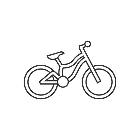 simple: Mountain bike icon in thin outline style. Sport transportation explore distance endurance bicycle suspension Illustration