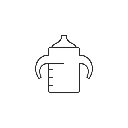 silent: Milk bottle icon in thin outline style. Baby toddler pacifier drinking comforter Illustration