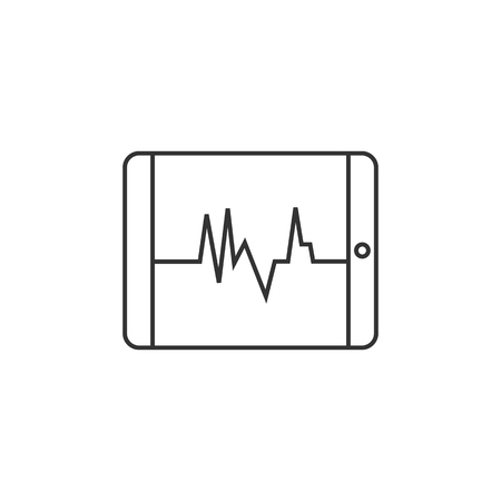 screen: Heart rate monitor icon in thin outline style. Medical health care digital surveillance patients critical coma