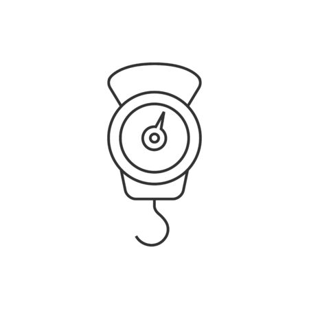 scale icon: Fishing scale icon in thin outline style. Water sport activity fish weight